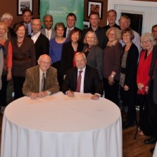 Mennonite Faith and Learning Society and members of several faith communities gather for signing of MOU with UFV President Mark Evered, MFLS President James Nikkel, and UFV faculty and executives.